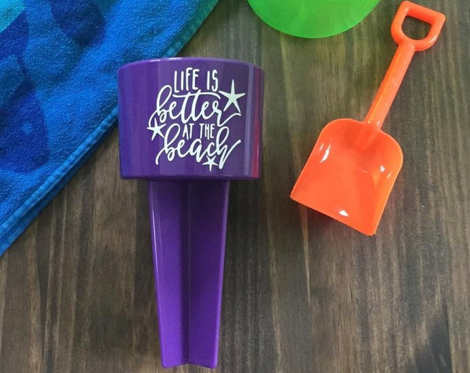 Sand Spiker Life is Better at the Beach Purple Summer Vacation Drink Holder
