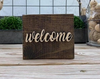 "Mini 4x3.5"" Cursive Welcome Simple Shelf Sitter Sign Handmade 3d Laser Cut Wood Stained Tiered Tray Decor"