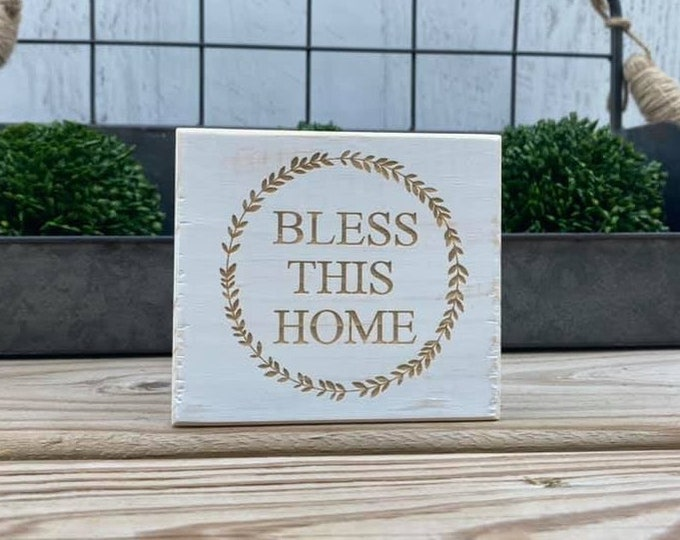 """Mini 4x3.5"""" Bless This Home White Distressed Simple Shelf Sitter Sign Handmade Tiered Tray Decor"""