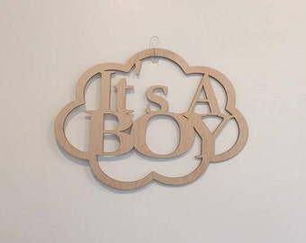 "12"" Wood It's A Boy Laser Cutout Pregnancy Birth Announcement Nursery New Baby Unfinished"