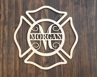 "12"" Wood Maltese Cross Firefighter Fireman Monogram Laser Cutout Shape Unfinished"