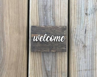 """Mini 5x3.5"""" Cursive Welcome Simple Shelf Sitter Sign Handmade 3d Laser Cut Wood Stained"""