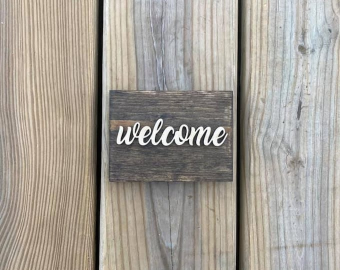 """Mini 5x3.5"""" Cursive Welcome Simple Shelf Sitter Sign Handmade 3d Laser Cut Wood Stained Tiered Tray Decor"""