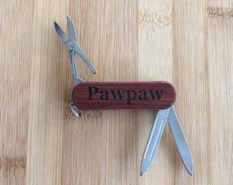 Pawpaw Laser Engraved Rosewood Pocket Knife Tool