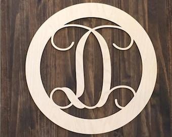 "18"" Wood Single letter Curly Monogram Laser Cutout Shape Custom Initial Circle Unfinished"