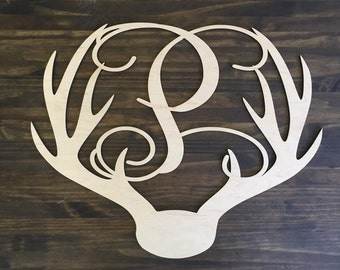 "12"" Wood Deer Antler Monogram Initial Laser Cutout Shape Unfinished"