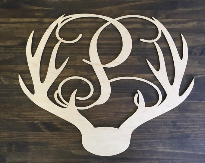 "12"" Wood Deer Antler Monogram Initial Laser Cutout Shape Unfinished"