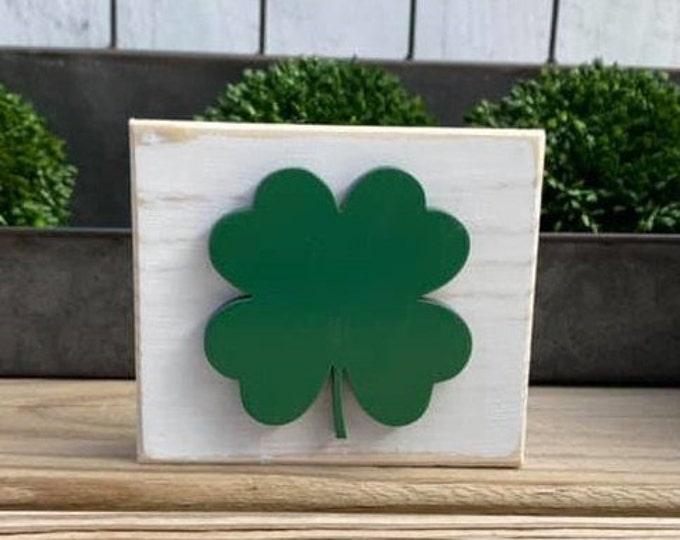 "Mini 4x3.5"" Green Shamrock 3d White Distressed Simple Shelf Sitter Sign Handmade Tiered Tray Jute 4 leaf clover lucky irish st patricks day"