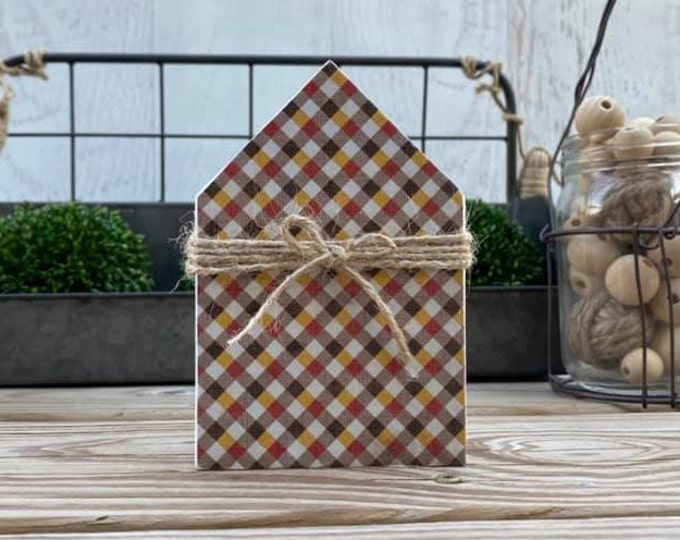 "Mini 5x3.5"" Fall Plaid Wood House Jute Simple Shelf Sitter Sign Handmade Tiered Tray Decor Thanksgiving"