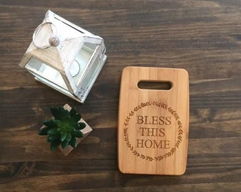 """Small Size 6x9"""" Laser Engraved Bamboo Cutting & Serving Board Bless This Home Simple"""