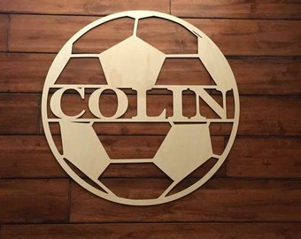 """18"""" Wood Soccer Ball Last Name Team Name Laser Cutout Sport Shape Unfinished"""