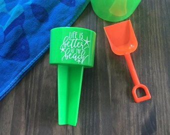 Sand Spiker Life is Better at the Beach Bright Lime Green Drink Holder Summer Vacation