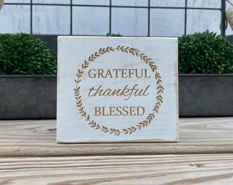 """Mini 4x3.5"""" Grateful Thankful Blessed Engraved White Distressed Simple Shelf Sitter Sign Handmade Tiered Tray Decor"""