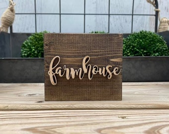 """Mini 4x3.5"""" Cursive Farmhouse Simple Shelf Sitter Sign Handmade 3d Laser Cut Wood Stained Tiered Tray Decor"""