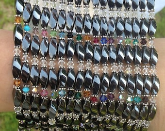 Magnetic Hematite Bracelet or Anklet with Swarovski Crystals -14 Color Choices