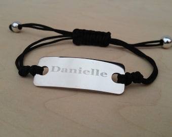 Engraved Stainless Steel Adjustable Cord Bracelets 8 color choices