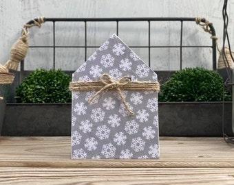 "Mini 5x3.5"" Snowflake Wood House Jute Simple Shelf Sitter Sign Handmade Tiered Tray Decor Winter Christmas Neutral"