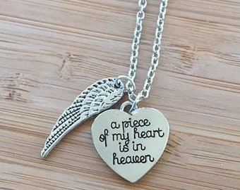 A Piece of my Heart is in Heaven Stamped Necklace Cursive Wing charm adjustable chain