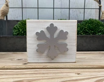 """Mini 4x3.5"""" Silver Snowflake 3d White Distressed Simple Shelf Sitter Sign Handmade Tiered Tray Decor Winter Christmas"""