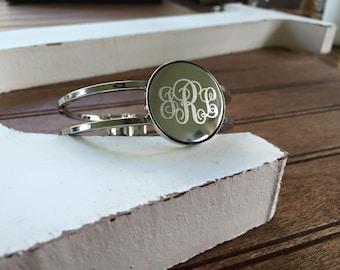 Curly Monogram Spring Cuff Bracelet