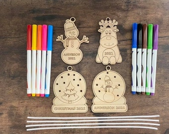DIY BOY Christmas Ornament Coloring Kit Personalized Family Kid Activity Laser Cut Keepsake Custom Snow Man Reindeer Globe Tree Markers