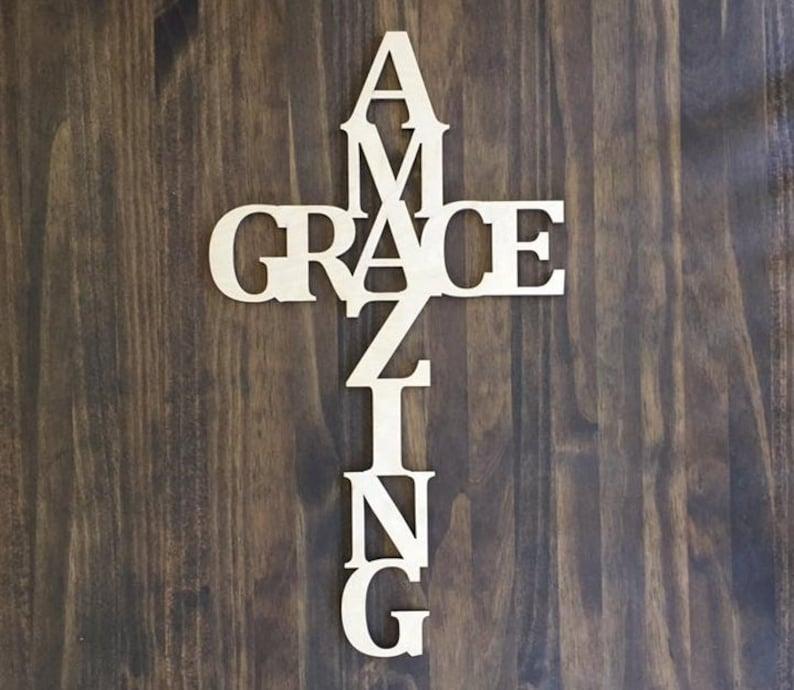 Laser Cut Wood Amazing Grace 18 tall Unfinished