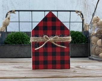 "Mini 5x3.5"" Red Black Plaid Wood House Jute Simple Shelf Sitter Sign Handmade Tiered Tray Decor Christmas"