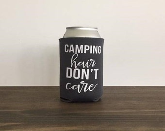 Camping Hair Don't Care Can Cooler Drink Holder Bottle  Summer Vacation 17 colors