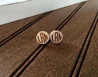 "Circle Monogram Wood 1/2"" Earring Set-Custom Laser Engraved Personalized"