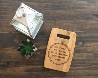 """Small Size 6x9"""" Laser Engraved Bamboo Cutting & Serving Board God is Great God is Good Simple"""