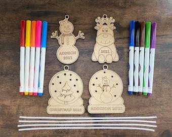 DIY GIRL Christmas Ornament Coloring Kit Personalized Family Kid Activity Laser Cut Keepsake Custom Snow Girl Reindeer Globe Tree Markers