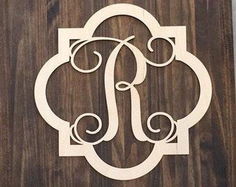 "18"" Wood Quatrefoil Single letter Curly Monogram Laser Cutout Shape Custom Initial Unfinished"