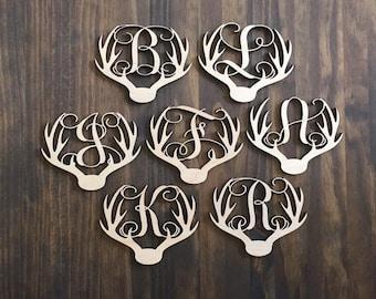 "4.5"" Wood Deer Antler Monogram Initial Laser Cutout Shape Ornament Unfinished"