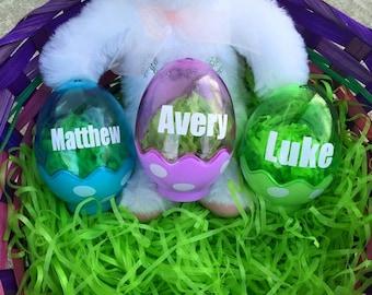 Personalized Polka Dot Eggs Easter Basket Filler Custom Green