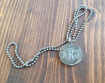 """Engraved 3 Letter Curly Monogram Stainless Steel Disc Necklace 18"""" 24"""""""