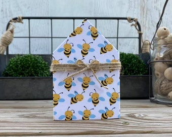 "Mini 5x3.5"" Honey Bee Wood House Jute Simple Shelf Sitter Sign Handmade Tiered Tray Decor Bumble"