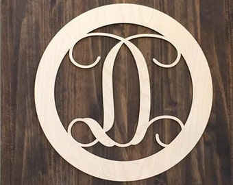 "18"" Wood Single letter Curly Monogram Laser Cutout Shape Custom Initial Circle Unfinished"