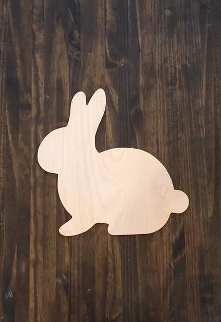 24 Wood Bunny Easter Spring Rabbit Shape Cutout Door Hanger