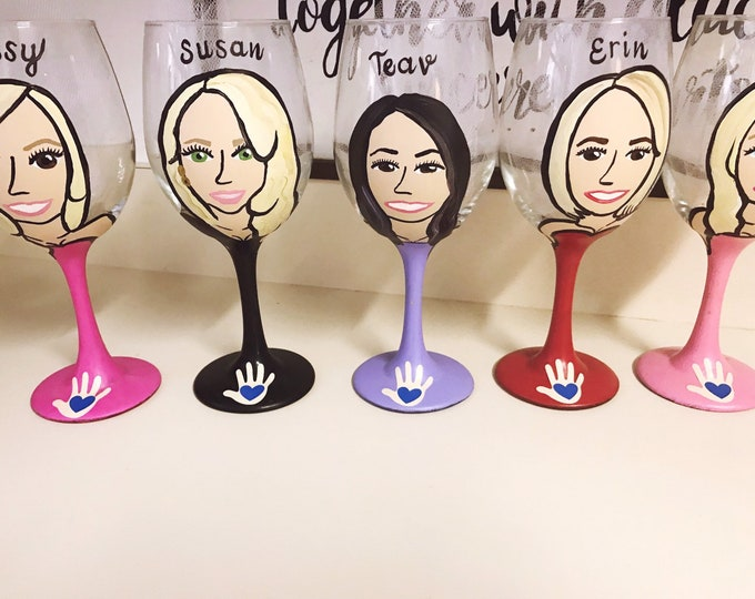 Bridesmaid Charicature Wine Glasses- Be My Bridesmaid - Be My Maid of Honor - Bridesmaid Gifts