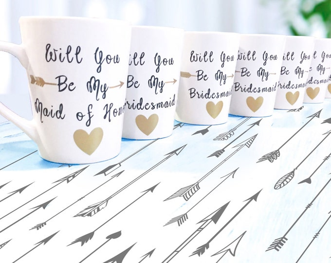 Will you be my bridesmaid? Will you be my Maid of Honor? Coffee Mugs for Bridal Party - Enagagement - Engaged - Bridesmaids Gifts - Be Mine