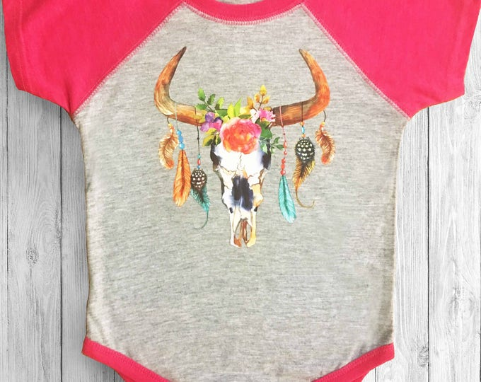 Pink Raglan baby girl onsie - Take the Bull by the Horns - Baby girl gifts