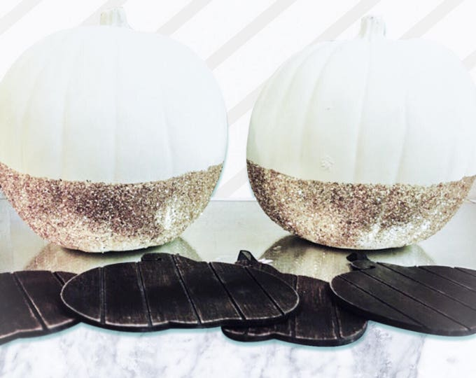 Glittern Dipped Gold and Champaign Ivory Pumpkins for Harvest and Thanksgiving Accents and Decor. White Pumpkins with Glitter Bottoms.