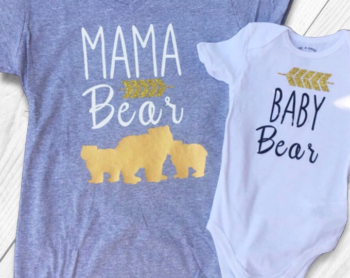Mama Bear and Baby Bear - Arrows and Bears Top for the twinning Mommy and Daughter. Mama/daughter duo tees and onsies. Mommy of  Two.