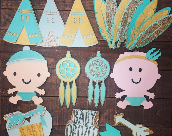Boho Baby Shower Paper Craft Cupcake and Cake Toppers. baby Boy - Baby girl - Custom cut and made - Baby Shower Supplies - Diaper Cakes