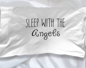 Sleep With The Angels Pillow Case - Sweet Dream Bed Time pillows - Kids Bedroom Decor
