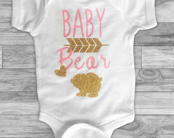 Baby Bear - Pink and Gold Baby Bear Onsie - Baby Shower Gifts -