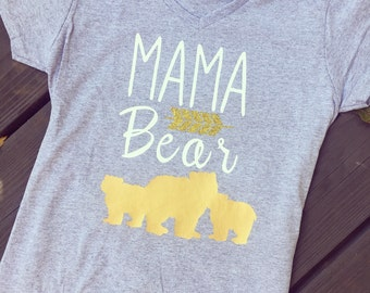 Grey T-Shirt. Arrows and Bear Accents - Mama Bear T-shirt. Gifts for Mom! Baby Shower gifts for the Mama Bear- Gold Glitter