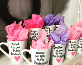 Will You Be My Bridesmaid - Pink Heart - Coffee Mugs - Bridesmaid Gifts - maid of honor gifts - Be my maid - Proposal Gifts for Bridesmaids.