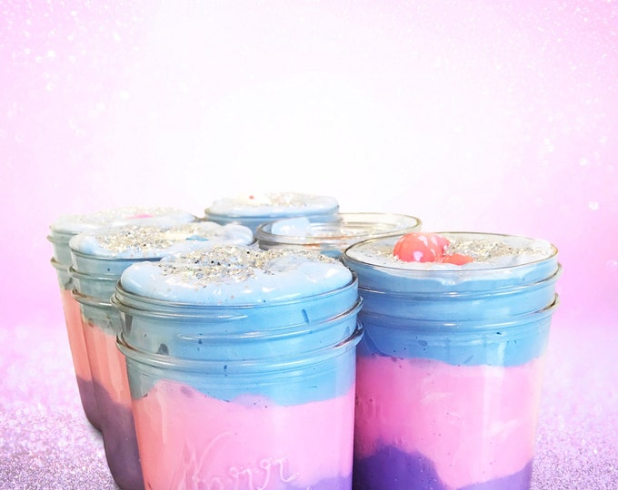 Birthday Cake Slime Party Favors - Customized colors and themes to match party Pack of 6 slimes.