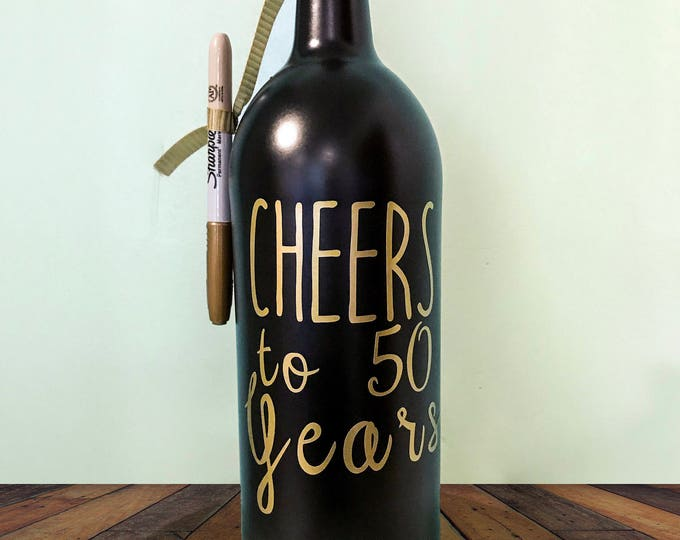 Cheers to 60 years - Personalized wine Bottle Guest Book for Birthday Memorabilia - Birthday Sign In Bottles - Wine Decor